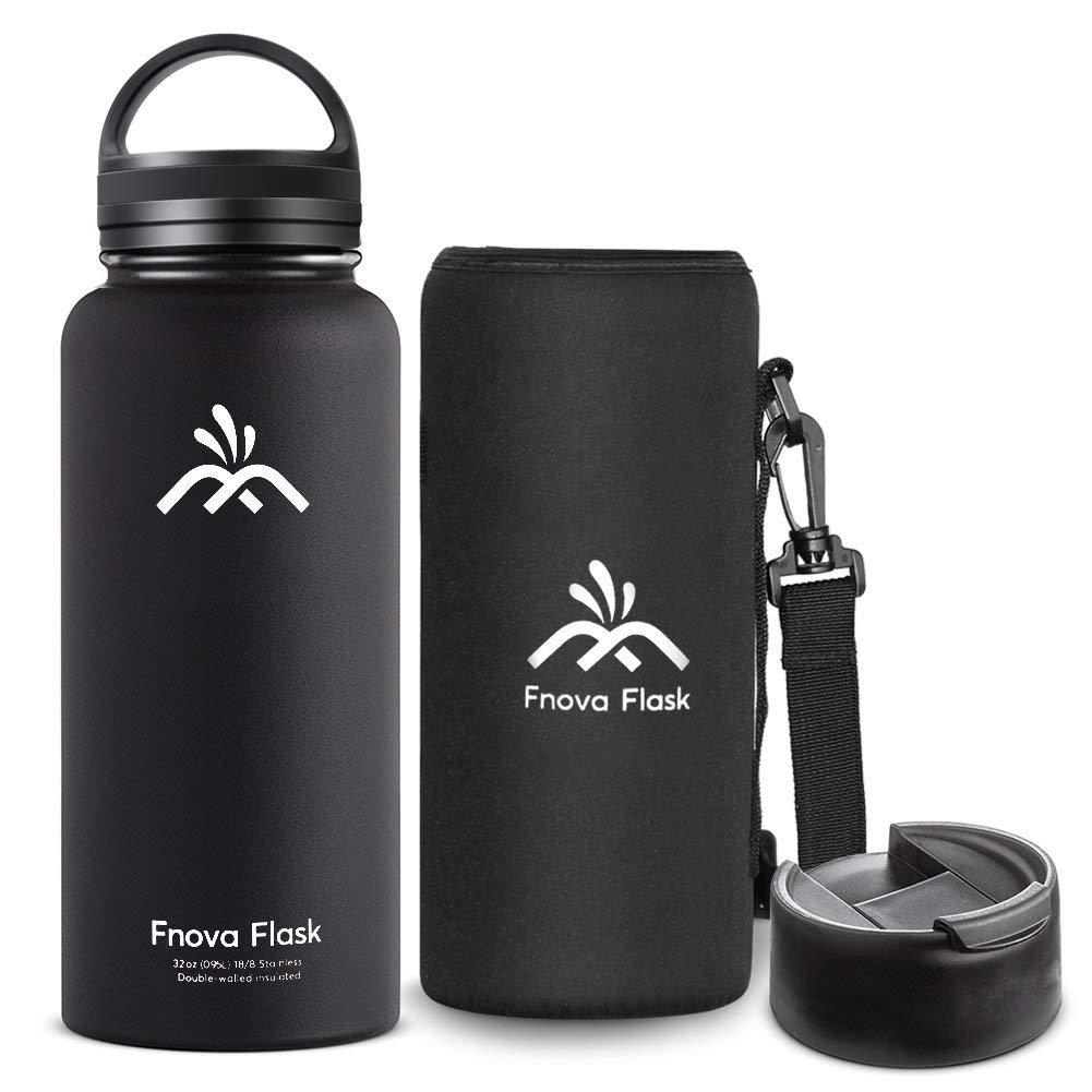 32 oz Stainless Steel Water Bottle, Fnova Flask Insulated Double Walled Vacuum Thermos, Wide Mouth Bouns Protective Pouch/Carry Cover and Coffee Lid, BPA-Free, Cold 24 Hrs / Hot 12 Hrs