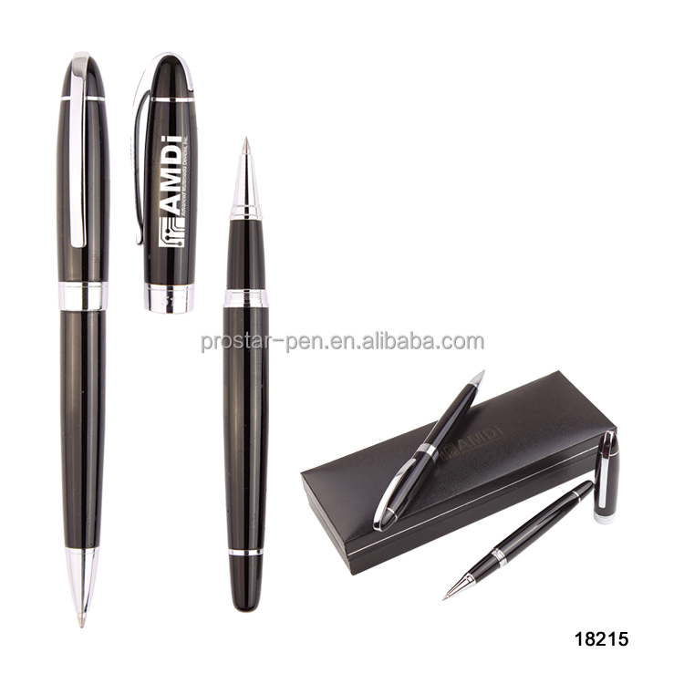 Nice designed custom logo promotional metal ball pen gift pen set
