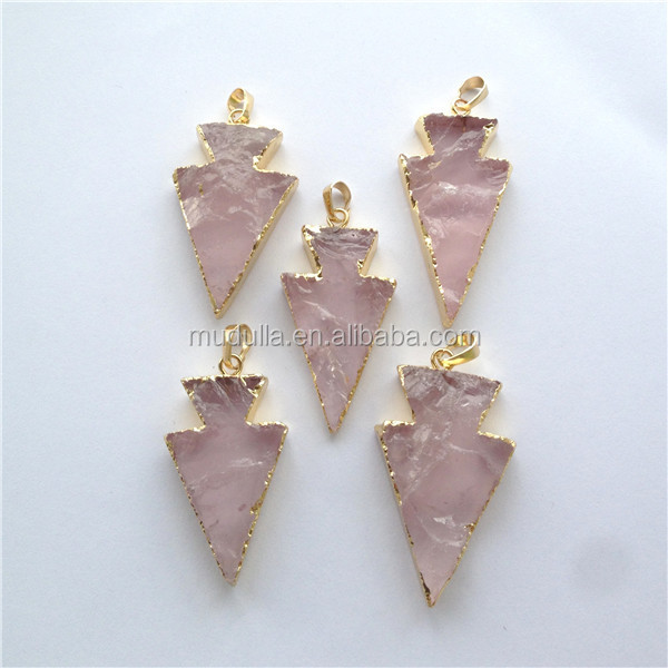 DP092 Pink Agate Arrowhead Pendant. Gold Plated Edge and Bail Slab Stone Charm Jewelry