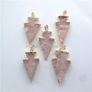 PM8347 Pink Agate Arrowhead Pendant. Gold Plated Edge and Bail Slab Stone Charm Jewelry