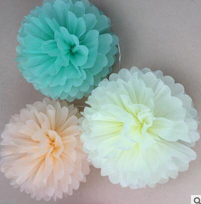 2PCS DIY 3-20inches Paper Flowers Kissing Ball Wedding Home Birthday Party&Wedding Car Decoration Tissue Paper Pom Poms