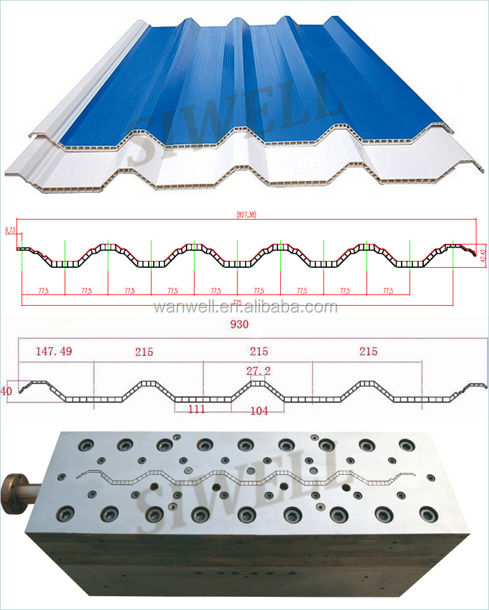 Twin wall PVC roof sheet mould