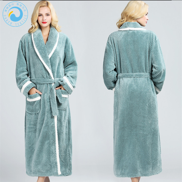 China Autumn Winter Coral Fleece night gowns Long Sleeve Bathrobe for Women