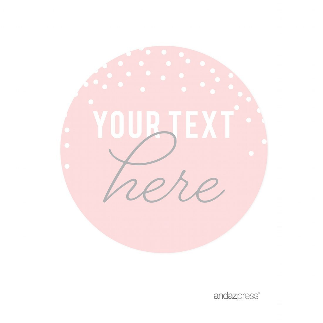 Andaz Press Pink Blush and Gray Pop Fizz Clink Wedding Collection, Personalized Round Circle Label Stickers, Custom Your Text Here, 40-Pack