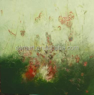Abstract green hills of red wildflower landscape painting 100%handmade classic decoration oil painting in canvas