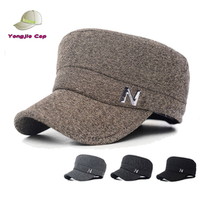 Multi Colors High Quality Twill Ear Shield Winter Autumn Simple Letter N Flat Top Military Hat