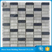 Chinese Wooden Grey Marble Mixed Black Culture Slate Stone Mosaic Tile For Wall Deco