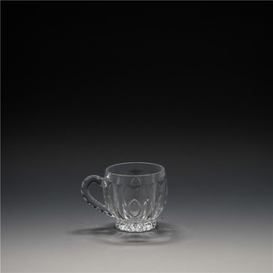 Sturdy crystal transparent oval handle glass tea cup new