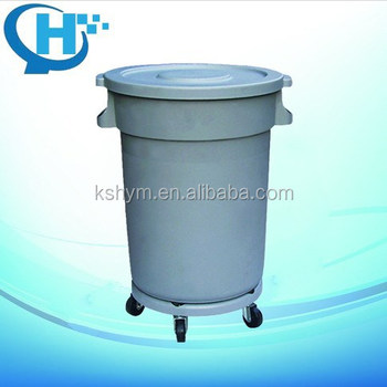 120L circular outdoor plastic garbage bin with wheels
