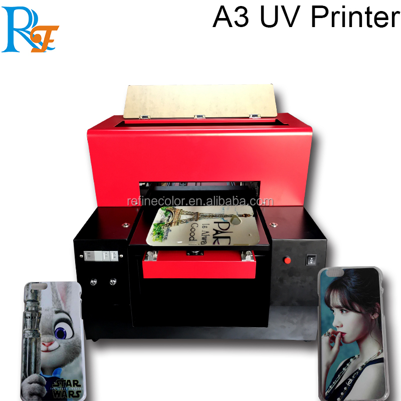 DIY 6 color digital small A3 uv led flatbed printer for printing phone case