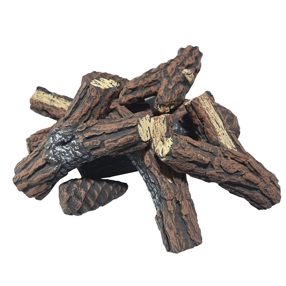 9 Piece Ceramic Concrete Wood Set on sale include 6 Piece Logs & 3 Pine Cones of Fireplace Logs For All Types of Ventless, Vent-Free, Propane, Gas, Gel, Ethanol, Indoor, Outdoor Fireplaces & Fire Pits