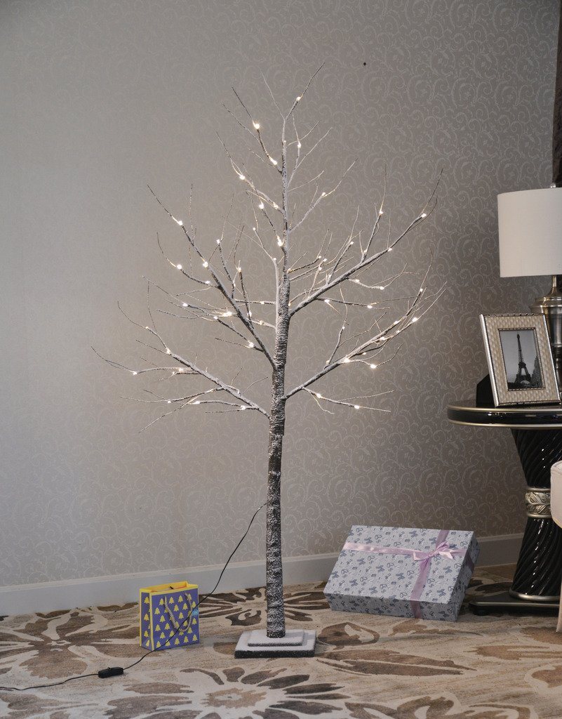 UPHA Snow 5 Ft Lighted Tree,72 LED Lights,Ideal Christmas Trees,Sutible for Holiday,Festival,Wedding Garden,Indoor and Outdoor Decoration, Warm Light