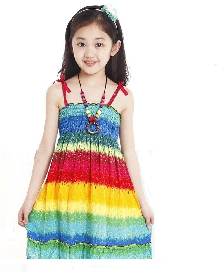 b0db3b41642b Get Quotations · 2015 New Summer Girls dresses Knee-Length Bohemian Beach  Dresses for Girl Kids baby Girl
