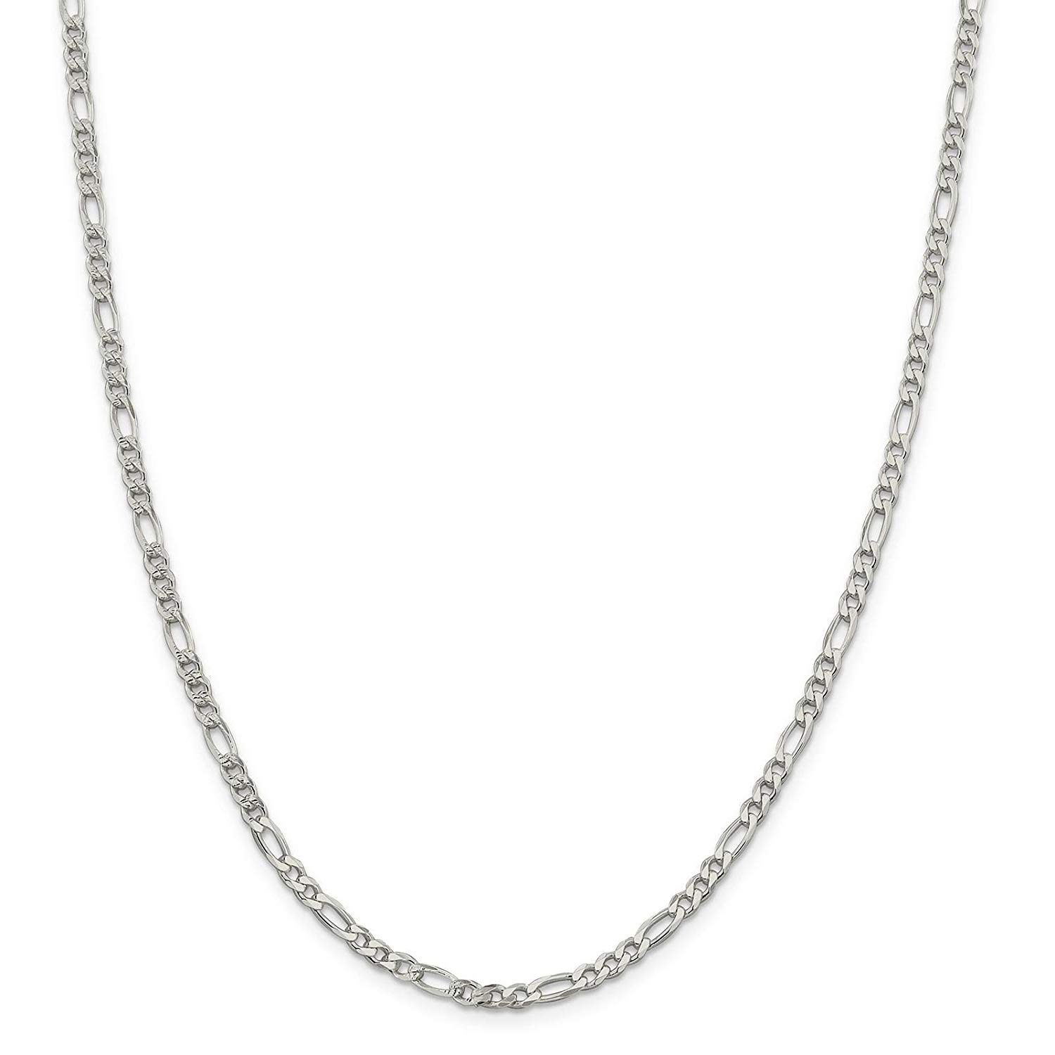 "925 Sterling Silver 4mm Polished Pave Flat Figaro Link Chain Necklace 7"" - 24"""