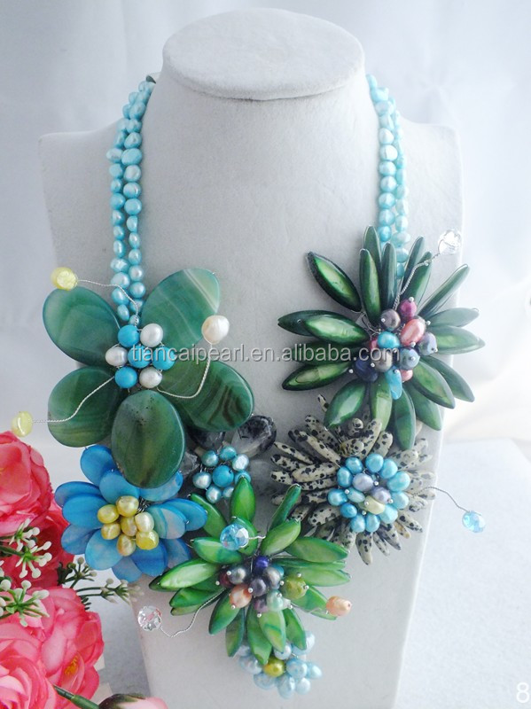 A-3934 Fashion African Freshwater pearl Flower Beads Jewelry Necklace For Wedding