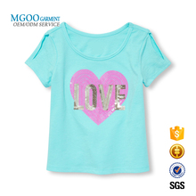 Cutout cold shoulder kids t shirt Sky blue sequin embellished custom tee for 6-12 years old Teenage girl t shirt
