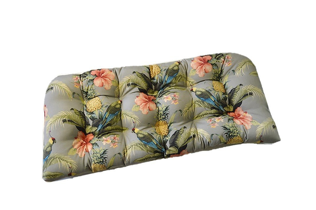 Indoor / Outdoor Tufted Cushion for Wicker Loveseat Settee - Tommy Bahama Home Fabric - Grey / Gray Beach Bounty Tangelo - Tropical Bird, Pineapple, Floral