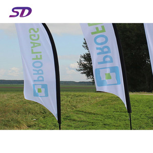 Promotion telescopic pole outdoor flying wind resistant printing advertising teardrop or feather banner beach flag