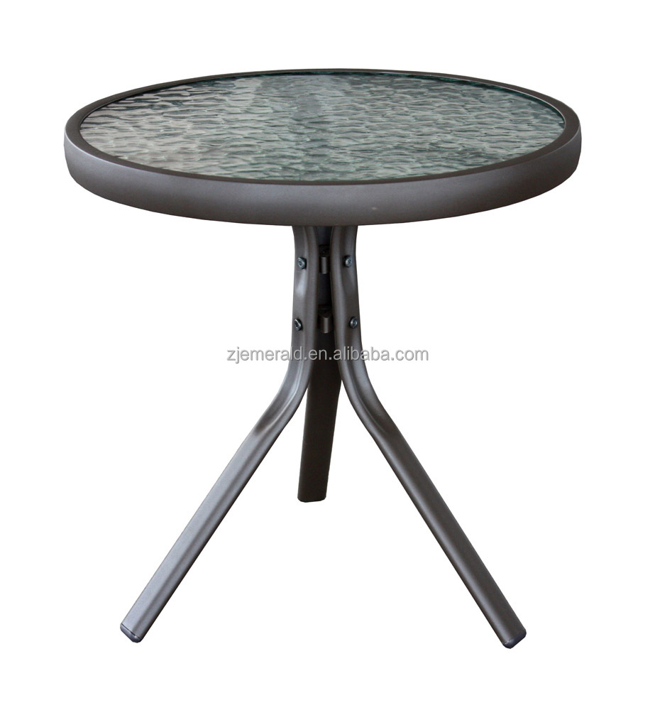 outdoor round tempered modern design glass tea table