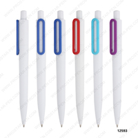 fancy wholesale annular clip white body plastic ballpen ballpoint pen