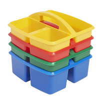 Constructed with Durable plastic Stackable design Small 3 Compartment School Art Caddy Assorted (4-Pack) Plastic Caddy