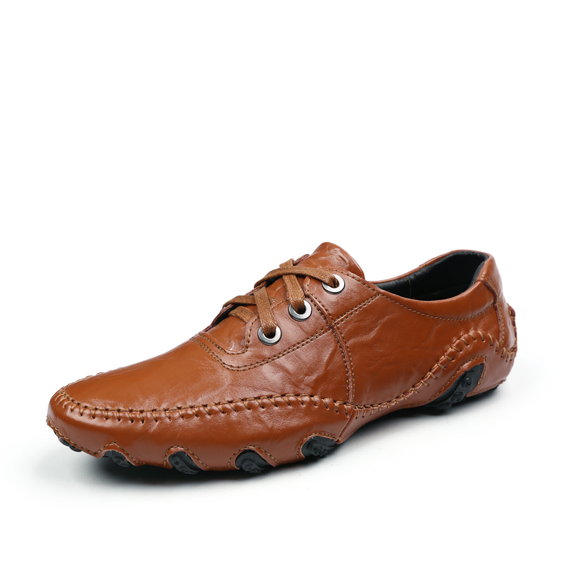 Men 와 genuine leather men's shoes pure 서, 봉합 driving 큰 yards shoes