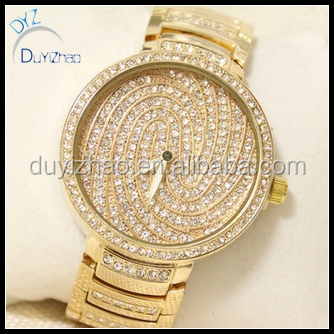hip hop diamond brand plated 24k gold watches