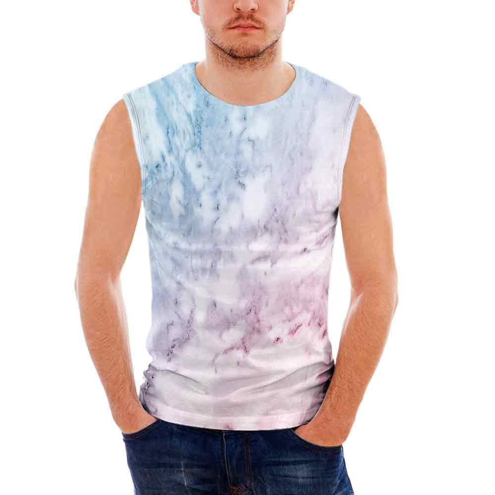 Male Sleeveless Printing Vest Marble Pastel Toned Cloudy Hazy Crack Lines Stained Antique Shabby Chic Design Light Blue