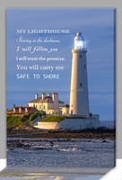 Cheap wholesale gift idea light up led canvas lighthouse picture, battery light wall hang decor