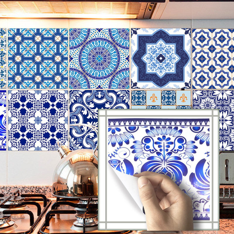 TS010 Blue and White Porcelain Vinyl Adhesive Bathroom Wall Sticker Tile