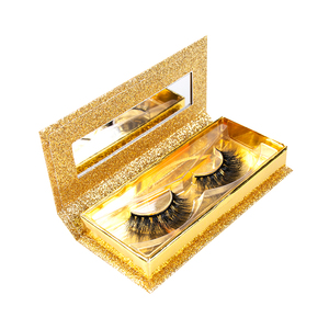 Own brand luxury custom glitter eyelash packaging mirror box cruelty free 3d mink eyelashes wholesale