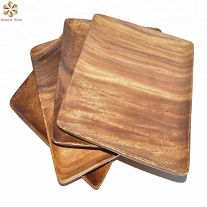 Pacific Merchants Acaciaware 7-Inch Acacia Wood Square Plate set of 4