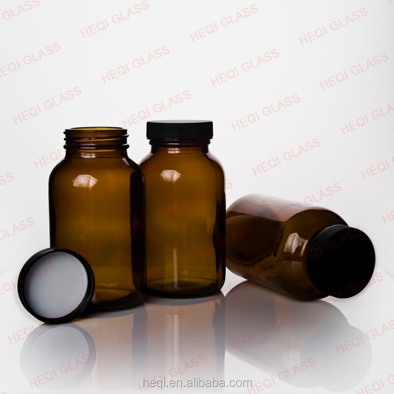 Amber Chemical Glass Bottle,wide mouth with screw cap