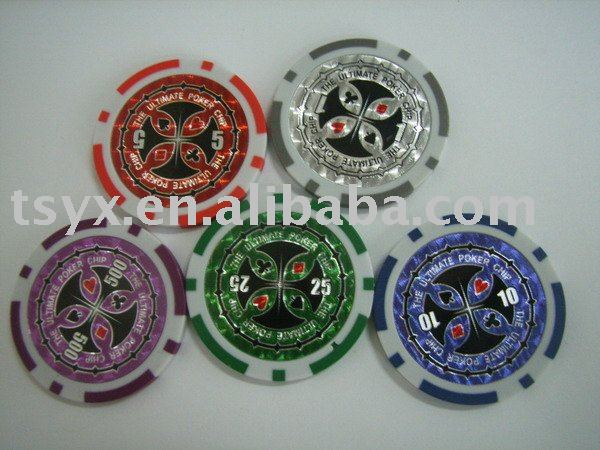 Laser poker chip with sticker,ABS