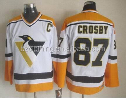 Sidney Crosby #87 White/Yellow Throwback Pittsburgh Penguins Ice Hockey Jersey