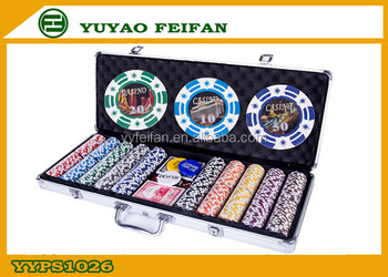 Promotie 500 stks Poker Chip Sets in Aluminium Case Voor Familie Games