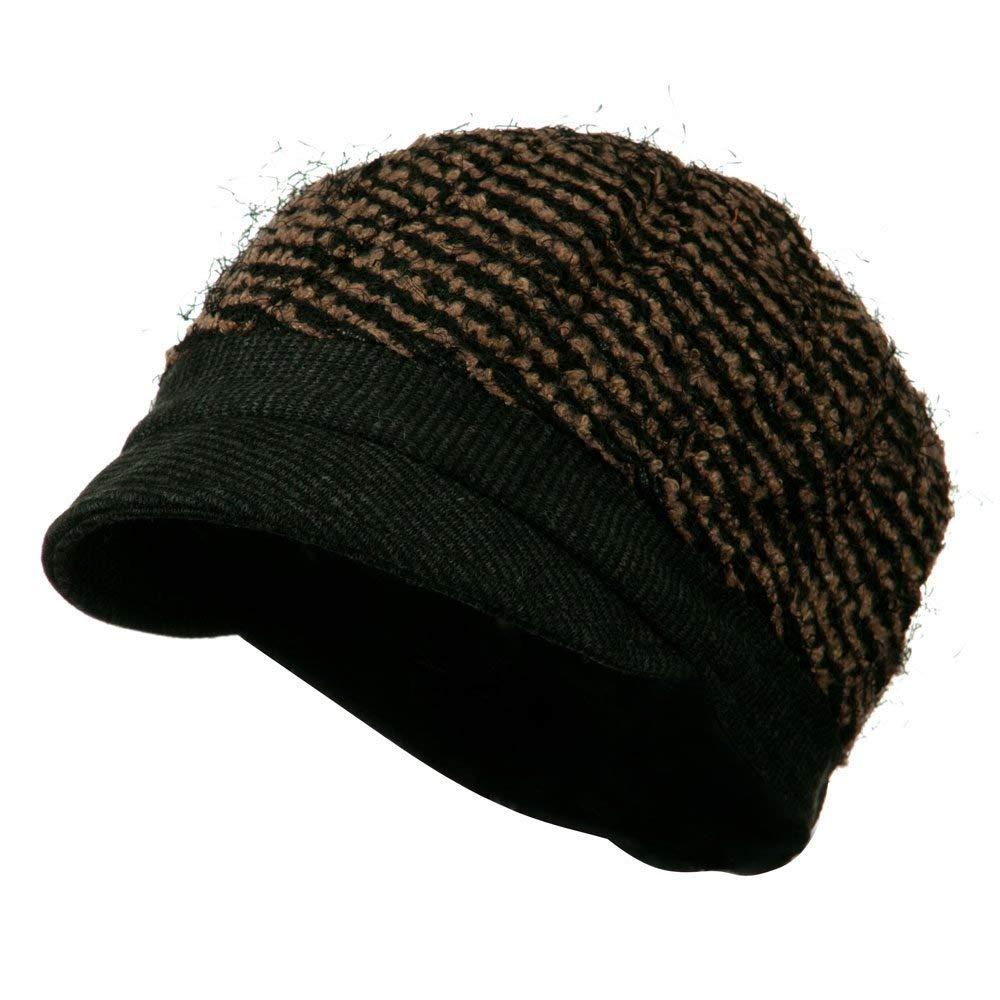 048d83ee7f3 Get Quotations · Ladies Corduroy Brim Cabbie Cap - Black Brown W16S52B
