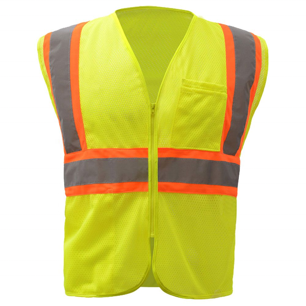 High visibility working  zipper closure EN ISO20471 safety vest