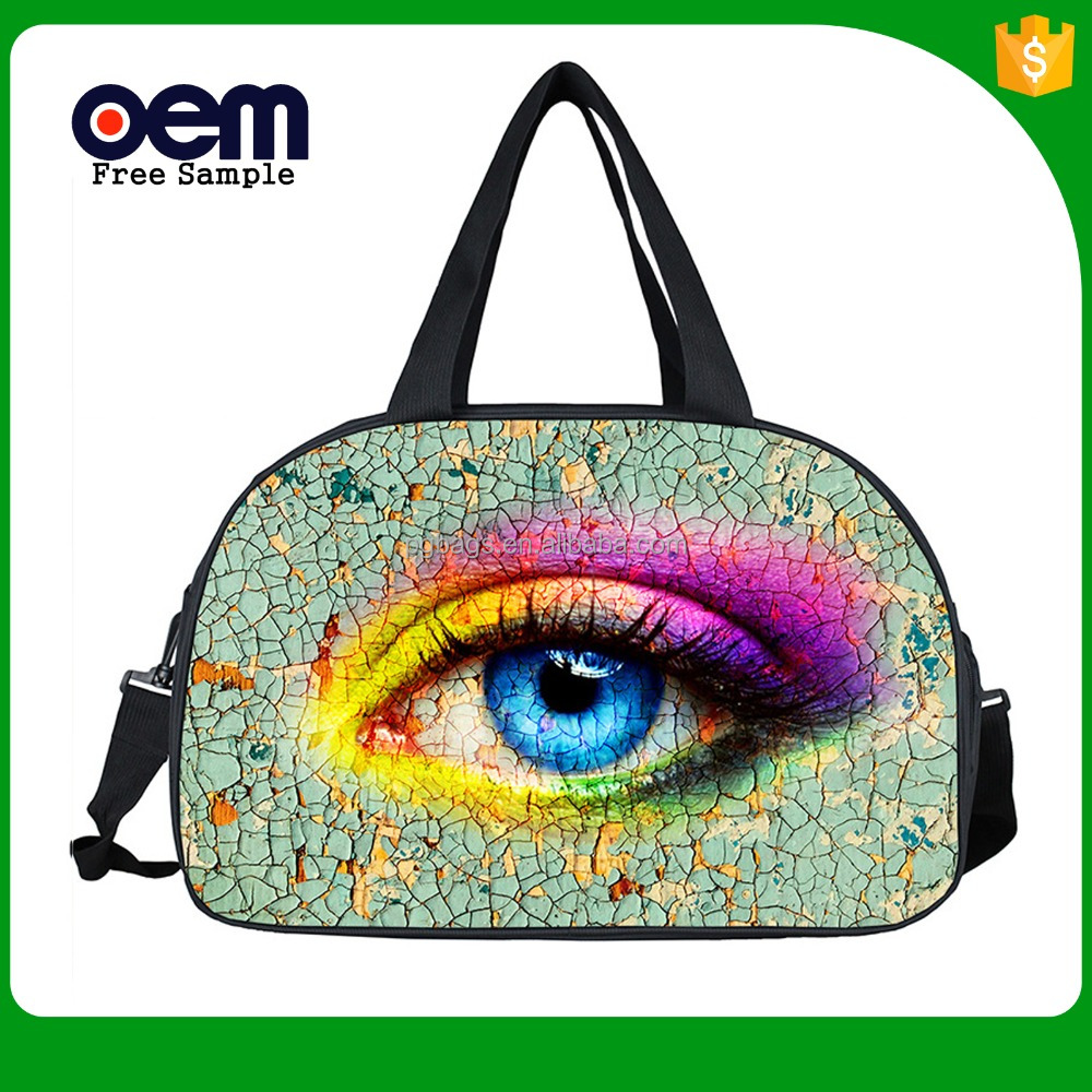 2017 New Creative 3D eyes printing custom single shoulder fancy polyester gym duffel bag with shoe compartment