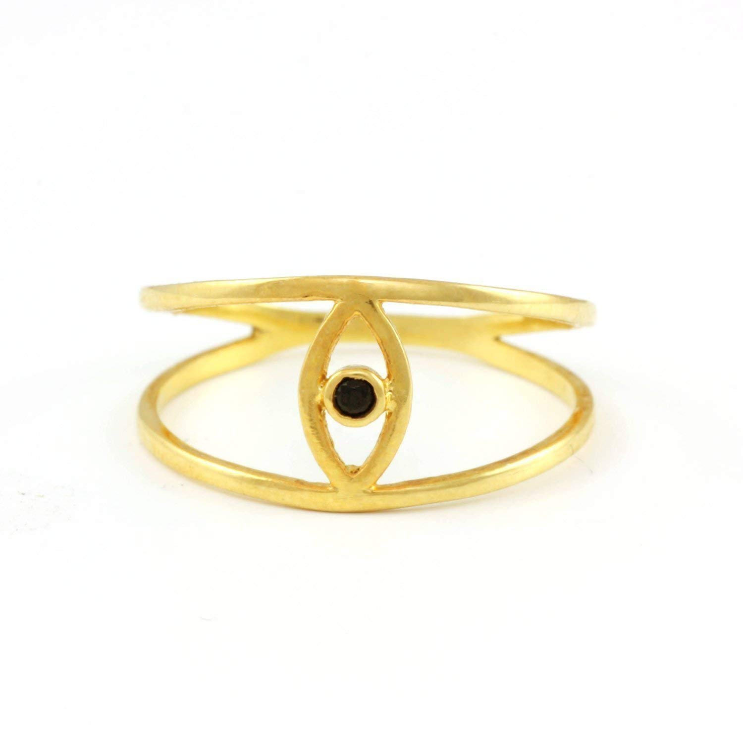 Evil eye double gold ring 14K bezel black or white diamond double band dainty minimalist protection special design for women birthday graduation gift AR032
