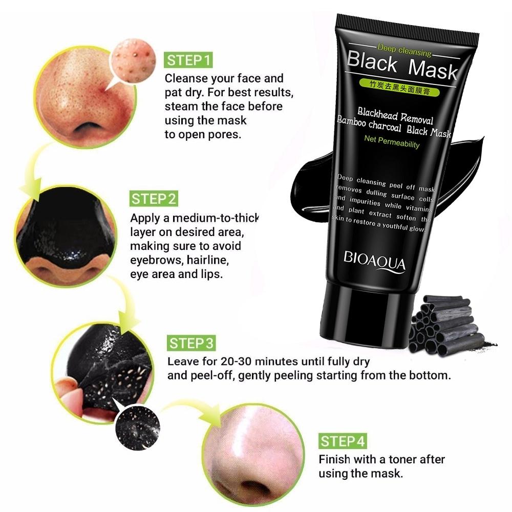 Oem Bioaqua Bamboo Charcoal Blackhead Removal Peel Off Black Mask Masker Vitamin C Wihitening