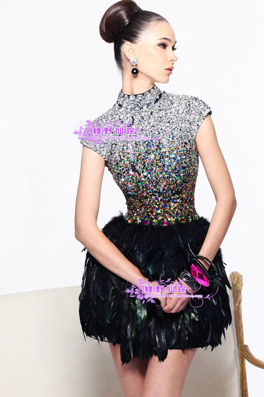 9f9b66c1c0e42 Get Quotations · free shipping 2014 sue wong new fashion back feather  luxury diamond dresses performance short prom black