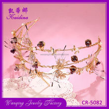 High end adjustable crystal pendant tiara