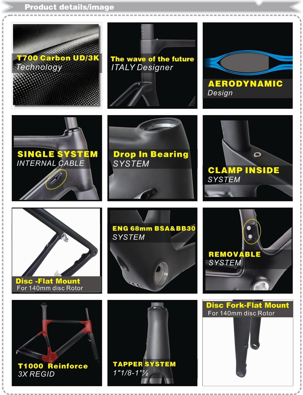 chinesische carbon rennrad rahmen 160 mm scheibenbremse t700 telaio in carbonio stra en. Black Bedroom Furniture Sets. Home Design Ideas