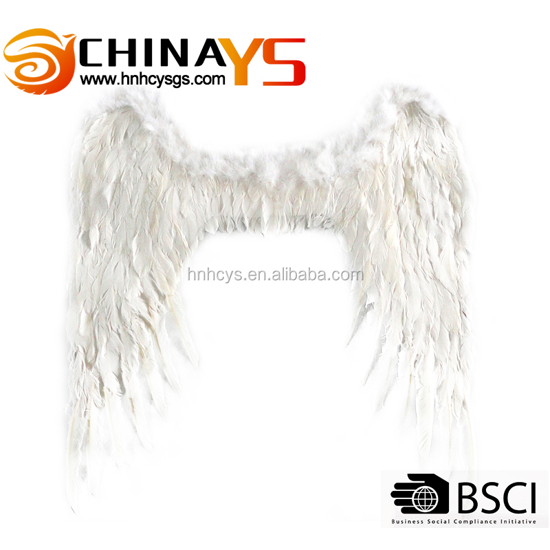 White color Wholesale fashionable goose feather wings YS8063 85x95cm for Party decoration