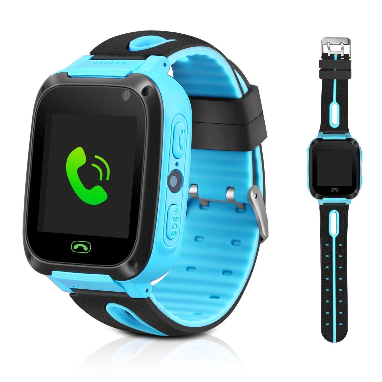 KEBIDU Kids Tracker Watch Waterproof, GPS Tracker Kids Smart Watch, GPS Bracelet for Kids Tracking with Camera Flashlight Function Touch Screen Anti-Lost SOS Camera Smart Watch Bracelet (Blue)