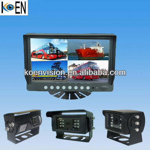 9 Inch Quad Monitor IP69K Bus Camera System
