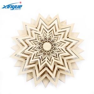 Laser engraving Wooden 3D star Exquisite Adornment Like The Fireworks