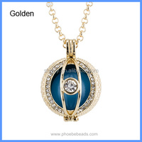 New Rhinestones Pave Evil Eye Round Sound Bell Hollow Chime Box Angel Cage Pendant Harmony Pregnancy Necklace BAC-M048