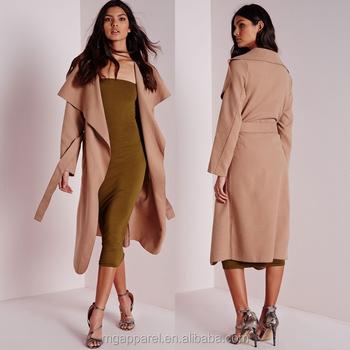 d258dd8db4e09 Surdimensionné cascade revers doux longue chic camel manteau pour les femmes  à ...